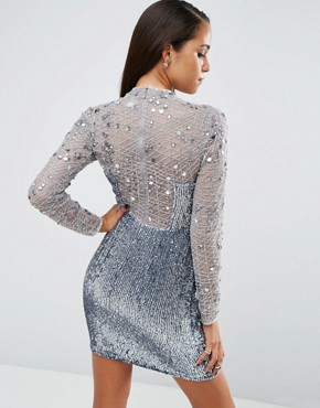 photo High Neck Embellished Mini Dress by ASOS NIGHT, color Silver - Image 2