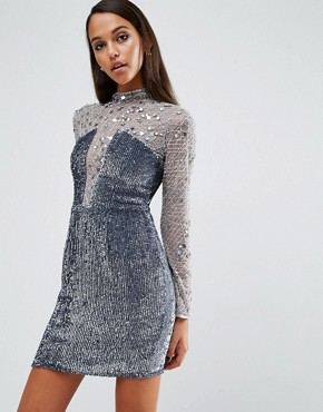 photo High Neck Embellished Mini Dress by ASOS NIGHT, color Silver - Image 1