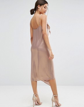 photo Metallic Cami Drape Front Midi Dress by ASOS, color Gold - Image 2