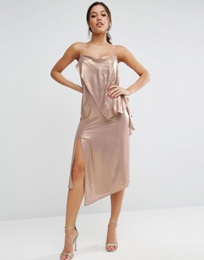 photo Metallic Cami Drape Front Midi Dress by ASOS, color Gold - Image 1