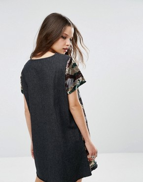 photo Sequin Oversized Dress In Camo Print by Liquor & Poker Petite, color Camo - Image 2