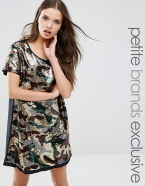 photo Sequin Oversized Dress In Camo Print by Liquor & Poker Petite, color Camo - Image 1