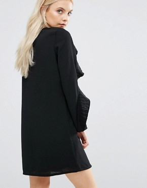 photo Wescot Ruffle Sleeve Shift Dress by Fashion Union Petite, color Black - Image 2
