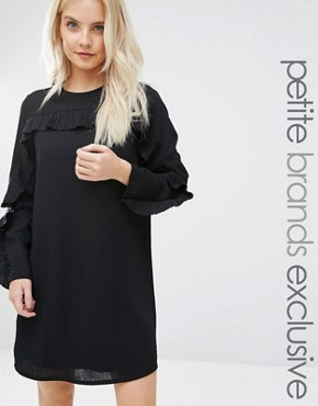 photo Wescot Ruffle Sleeve Shift Dress by Fashion Union Petite, color Black - Image 1