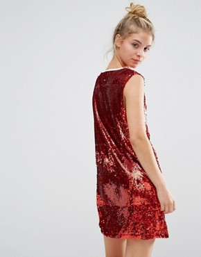 photo Oversized Sequin Varsity Mini Vest Dress by Liquor & Poker Petite, color Red - Image 2