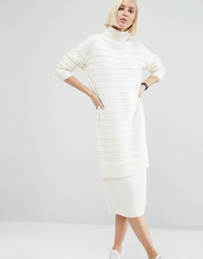 photo Jumper Dress in Chunky Ripple Stitch by ASOS, color Cream - Image 1