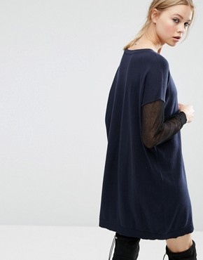 photo Jumper Dress with Sheer Sleeve Detail by ASOS, color Navy - Image 2
