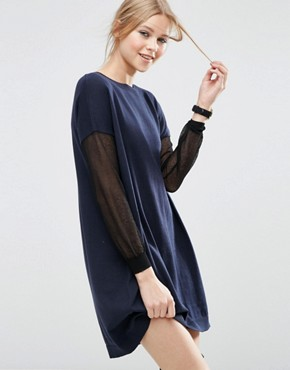 photo Jumper Dress with Sheer Sleeve Detail by ASOS, color Navy - Image 1