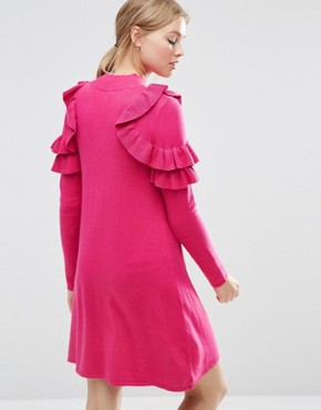 photo Jumper Dress with Ruffle Shoulder by ASOS, color Magenta - Image 2