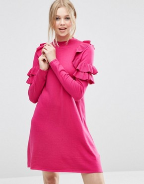 photo Jumper Dress with Ruffle Shoulder by ASOS, color Magenta - Image 1