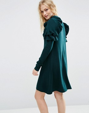 photo Jumper Dress with Ruffle Shoulder by ASOS, color Dark Green - Image 2