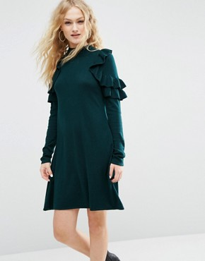photo Jumper Dress with Ruffle Shoulder by ASOS, color Dark Green - Image 1