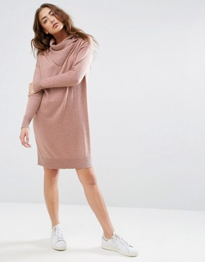 photo Jumper Dress with Wrap Neck Detail by ASOS LOUNGE, color Nude - Image 1
