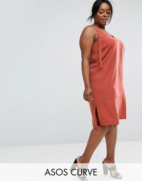 photo Dungaree Style Slip Dress by ASOS CURVE, color Teracotta - Image 1