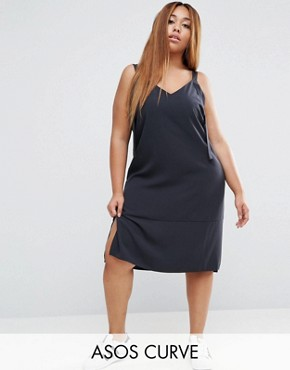 photo Dungaree Style Slip Dress by ASOS CURVE, color Dark Grey - Image 1