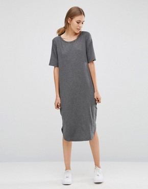 39bf55fe6e3d Gilli Long T-Shirt Dress by Just Female - Grey Melange