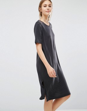 photo Pen T-Shirt Dress by Just Female, color Anthracite - Image 1