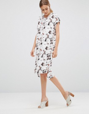 photo Marble Shirt Dress by Just Female, color Red Aop - Image 1
