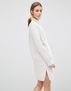 photo Sketch Linen Shirt Dress by Just Female, color Cream - Image 2