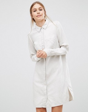 photo Sketch Linen Shirt Dress by Just Female, color Cream - Image 1