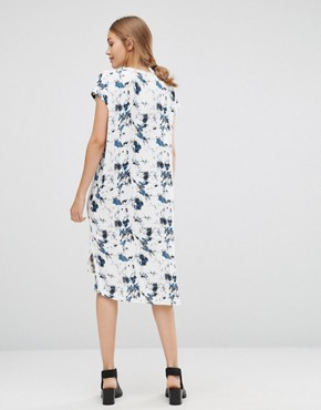 photo Marble Shirt Dress by Just Female, color Blue Aop - Image 2
