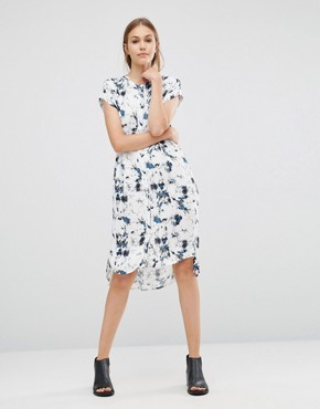 photo Marble Shirt Dress by Just Female, color Blue Aop - Image 1