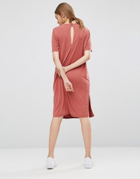 photo Pen T-Shirt Dress by Just Female, color Marsala Red - Image 2