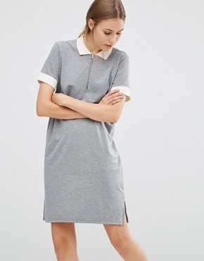 photo Athlete Polo Dress by Just Female, color Grey - Image 1