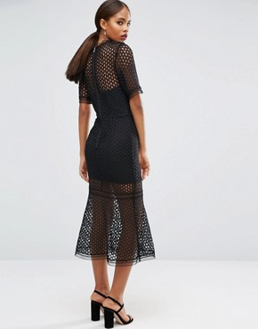 photo Cutwork Lace Overlay Midi Dress by Jarlo Tall, color Black - Image 2