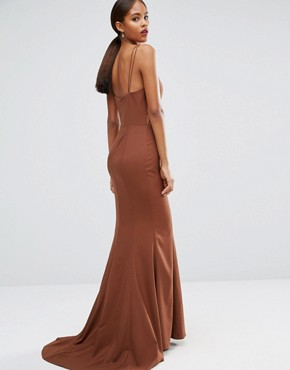 photo Strappy Maxi Dress with Waist Cutout Detail by Jarlo Tall, color Chocolate - Image 2