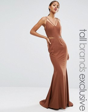 photo Strappy Maxi Dress with Waist Cutout Detail by Jarlo Tall, color Chocolate - Image 1