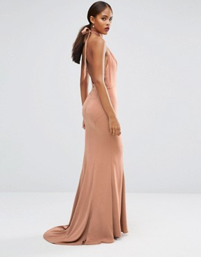 photo Tie Halterneck Fishtail Maxi Dress by Jarlo Tall, color Beige - Image 2