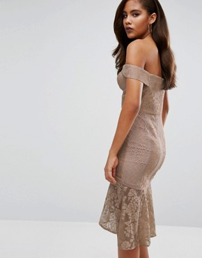 photo Off Shoulder All Over Lace Pencil Dress by Jarlo Tall, color Beige - Image 2