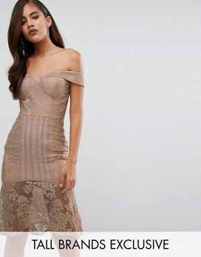 photo Off Shoulder All Over Lace Pencil Dress by Jarlo Tall, color Beige - Image 1