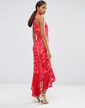 photo Halterneck Cutwork Lace Midi Dress with Frill Hem by Jarlo Tall, color Red - Image 2