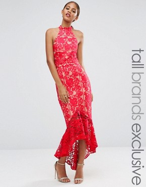 photo Halterneck Cutwork Lace Midi Dress with Frill Hem by Jarlo Tall, color Red - Image 1