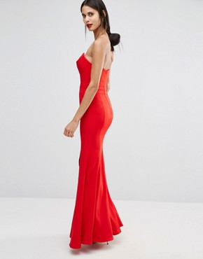 photo Helena Deep Sweetheart Plunge Front Maxi Dress by Jarlo Tall, color Red - Image 2