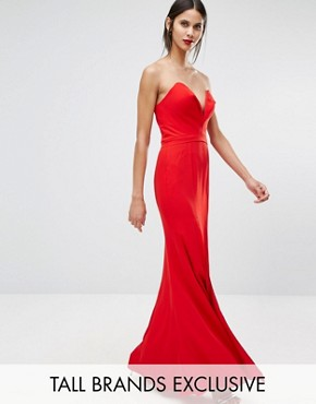 photo Helena Deep Sweetheart Plunge Front Maxi Dress by Jarlo Tall, color Red - Image 1