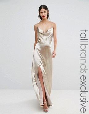 photo Cowl Front Strappy Cami Maxi Dress with Thigh Split by Jarlo Tall, color Gold - Image 1