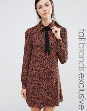 photo Diana Scarf Neck Dress In Leopard Print by Fashion Union Tall, color Leopard - Image 1