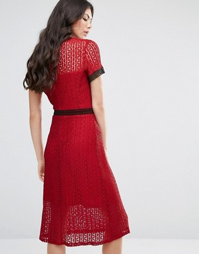 photo Allover Lace Midi Dress with Contrast Trims by Fashion Union Tall, color  - Image 2