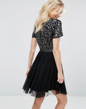 photo V Neck Mini Tulle Dress with Tonal Delicate Sequins by Maya Petite, color Black - Image 2