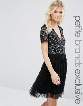 photo V Neck Mini Tulle Dress with Tonal Delicate Sequins by Maya Petite, color Black - Image 1