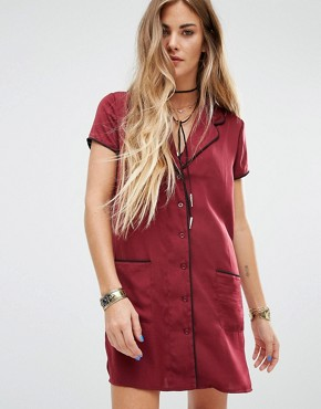 photo Pyjama Shirt Dress by Honey Punch, color Burgundy - Image 1