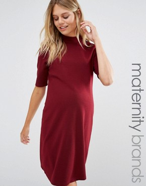 photo High Neck Mini Dress by New Look Maternity, color Burgundy - Image 1