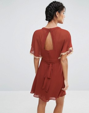 photo Embroidered Skater Dress with Open Back by ASOS, color Rust - Image 2