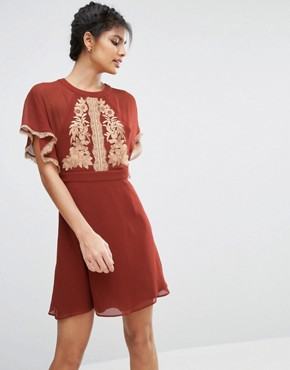 photo Embroidered Skater Dress with Open Back by ASOS, color Rust - Image 1