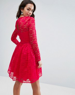 photo Pretty Lace Mini Prom Dress by ASOS, color Pink - Image 2