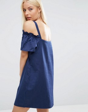 photo Cold Shoulder Button Through Sundress in Pinstripe by ASOS, color  - Image 2