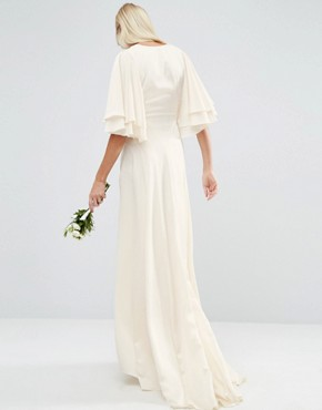 photo Flutter Sleeve Panelled Maxi Dress by ASOS BRIDAL, color White - Image 2